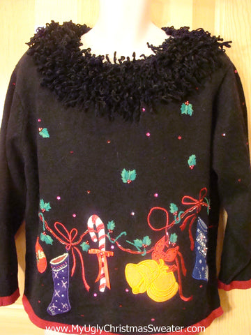 Funny Christmas Sweater Huge Fluffy Collar