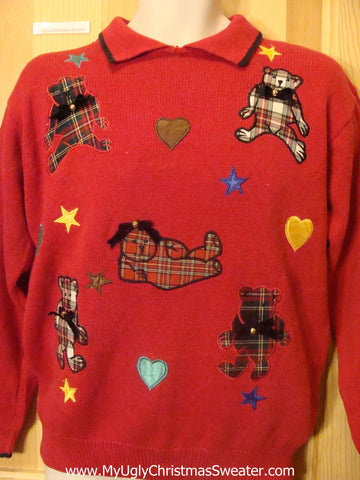 Funny Plaid Bears Christmas Sweater Pullover