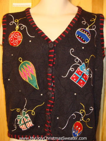 Tacky Ugly Christmas Sweater Vest with Ornaments and Gifts (f260)