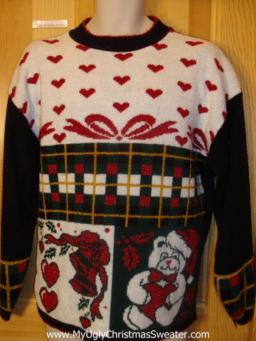 Funny Christmas Sweater Pullover Hearts and a Bear