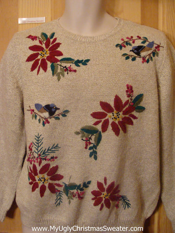 Funny Christmas Sweater Pullover Birds and Poinsettias