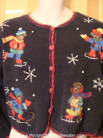 Funny Christmas Sweater Skating Bears