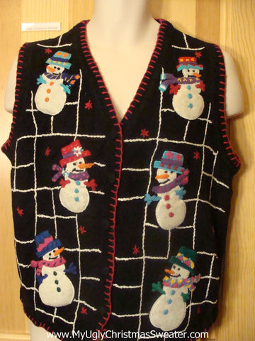 Funny Christmas Sweater Vest Carrot Nosed Snowmen