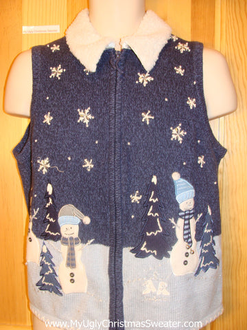 Funny Christmas Sweater Vest Winter Wonderland Snowman