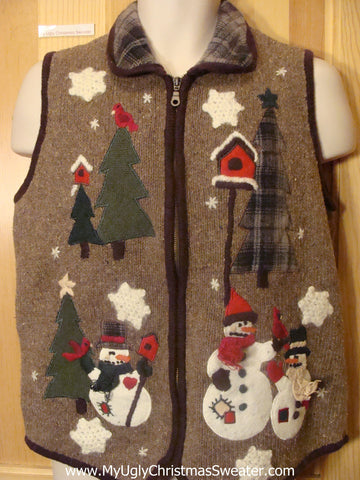 Funny Christmas Sweater Vest Brown Plaid Collar