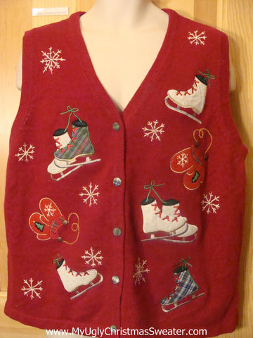 Funny Christmas Sweater Vest Ice Skates and Mittens