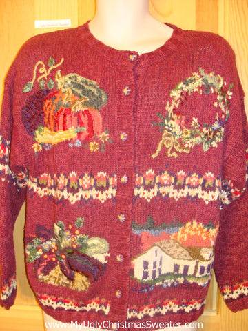 Funny Christmas Sweater Thanksgiving and Xmas Cardigan