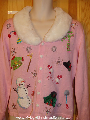 Best Pink Funny Christmas Sweater with Furry Collar and Bling