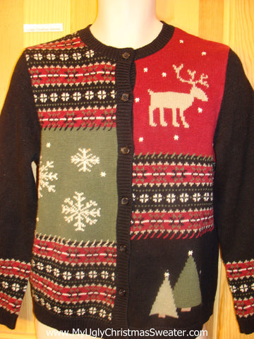 Funny Christmas Sweater Reindeer and Nordic Trims