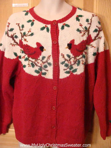 2sided Funny Christmas Sweater with Red Cardinal Birds