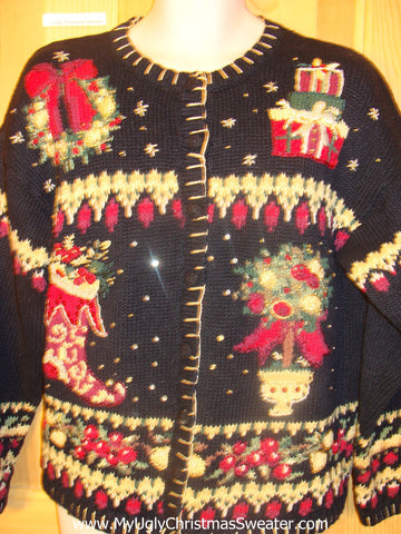 Funny Christmas Sweater Horrible Busy Decorations