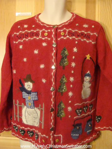 Funny Ugly Christmas Sweater with Crafty Embroidery and Snowmen