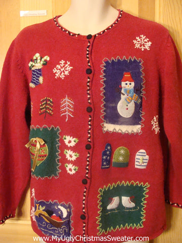 Funny Christmas Sweater Red Cardigan with Crafty Trim