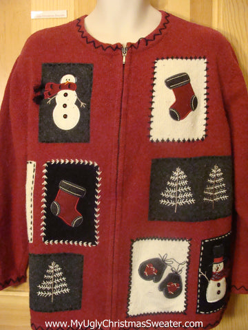 Crafty Funny Christmas Sweater Snowman Stockings