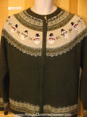 Funny Christmas Sweater Nordic Style with Snowmen