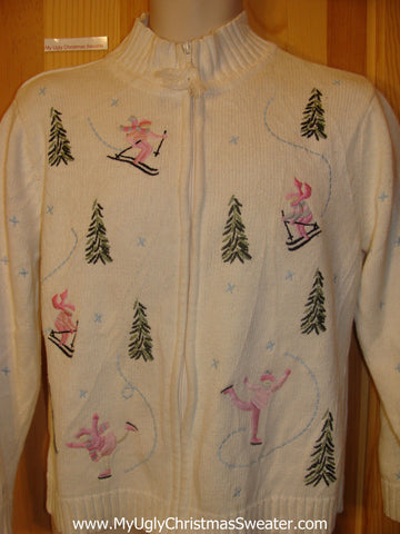 Funny Christmas Sweater Pink Skiing and Skating Girls