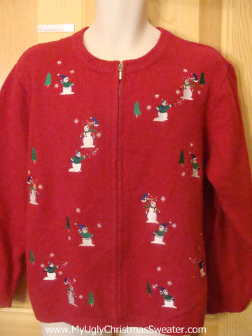 Funny Christmas Sweater Snowmen Throwing Snowballs