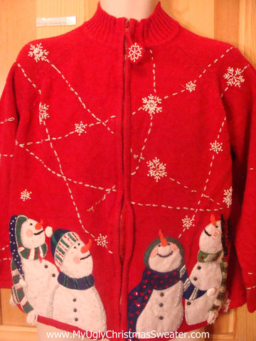 Funny Christmas Sweater Happy Carrot Nosed Snowmen