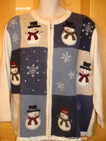 Funny Christmas Sweater with Snowmen and Snowflakes