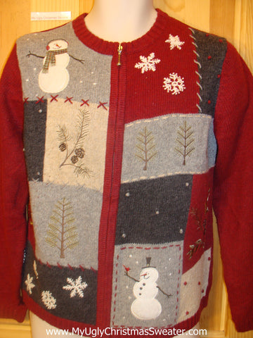Funny Red Ugly Christmas Sweater with Snowmen
