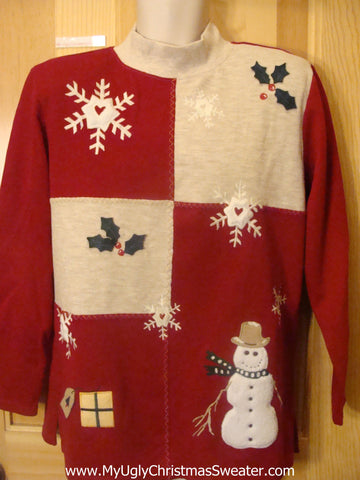 Funny Christmas Sweater Pullover with Snowmen and  Ivy