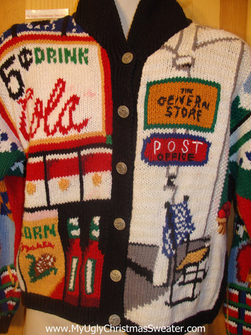 Awsome 80s Ugly Christmas Sweater Cola Shopping