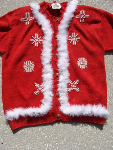 Funny Red Ugly Christmas Sweater with Snowflakes