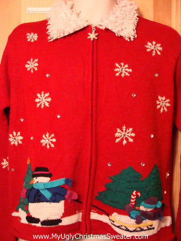Tacky Ugly Christmas Sweater 2sided Snowflakes & Furry Collar (f264)