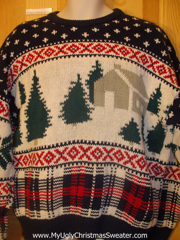 Ugly Christmas Sweater Pullover Vintage Winter Scene