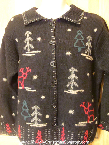 Funny Ugly Christmas Sweater with Trees and Reindeer