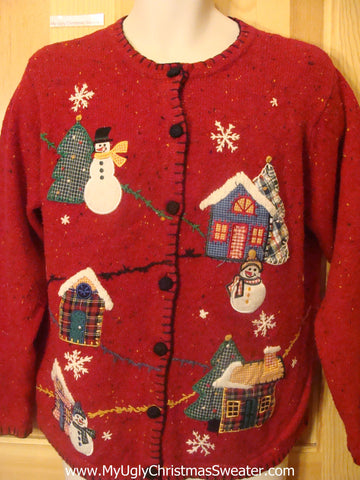 Funny Christmas Sweater with Crafty Plaid Design
