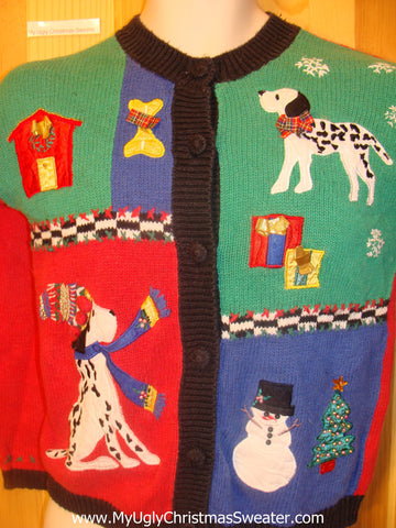 Child Size Funny Christmas Sweater Dalmation Dogs