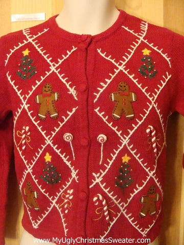 Child Size Funny Christmas Sweater with Gingerbread Men
