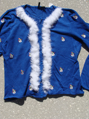 Cute as Can Be Tacky Christmas Sweater with 2sided Snowmen