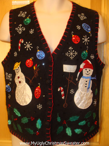 Funny Ugly Christmas Sweater Vest with Bling Ornaments
