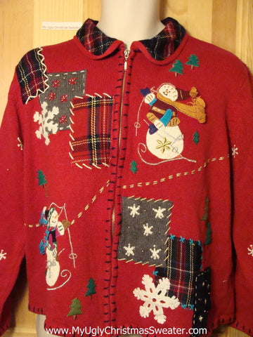 Tacky Ugly Christmas Sweater Crafty Plaid Decorations with Snowflakes and Snowman (f266)