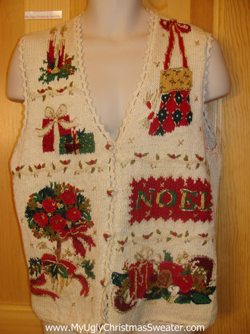 Horrible Ugly Christmas Sweater Vest with NOEL