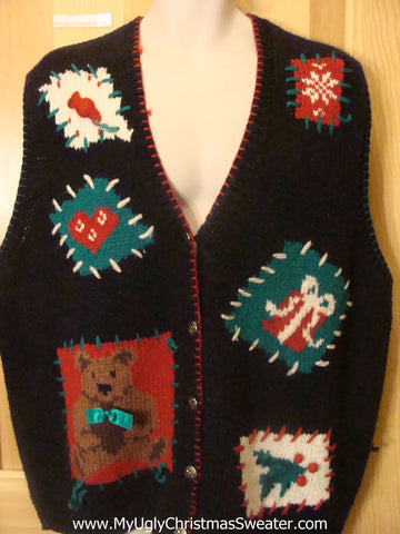 Crafty Ugly Christmas Sweater Vest with Horrible Designs