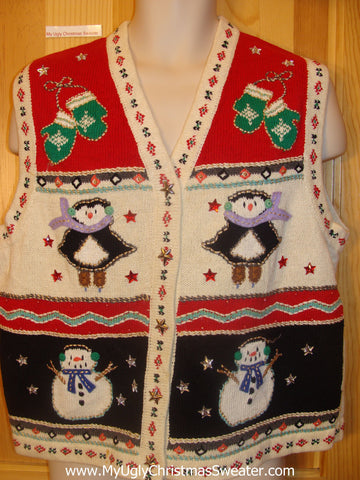 Funny Christmas Sweater Vest Penguins in Dresses