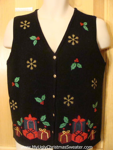 Funny Christmas Sweater Vest with Ivy and Gifts