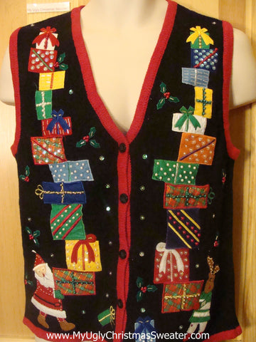 Funny Christmas Sweater Vest with Stacks of Tipsy Gifts