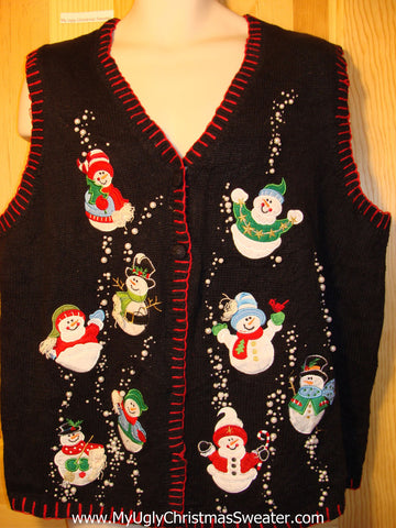 Tacky Ugly Christmas Sweater Vest Happy Festive Carrot Nosed Snowmen with Bead Bling (f267)