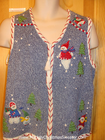 Funny Christmas Sweater Vest with Candy Cane Trim