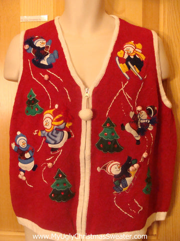 Ugly Christmas Sweater Vest Skiing Skating Sledding Snowmen