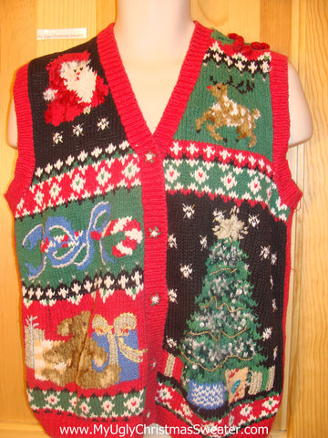 Horrible Ugly Christmas Sweater Vest with Reindeer