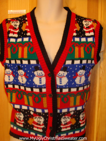 Funny Ugly Christmas Sweater Vest 80s Masterpiece