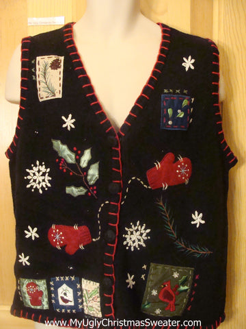 Tacky Cheap Christmas Sweater Vest with Crafty Trim