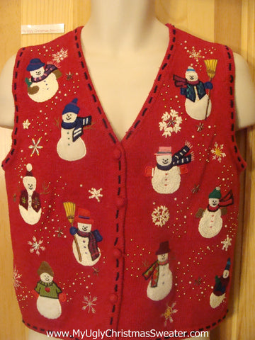 Funny Happy Snowmen Ugly Christmas Sweater Vest