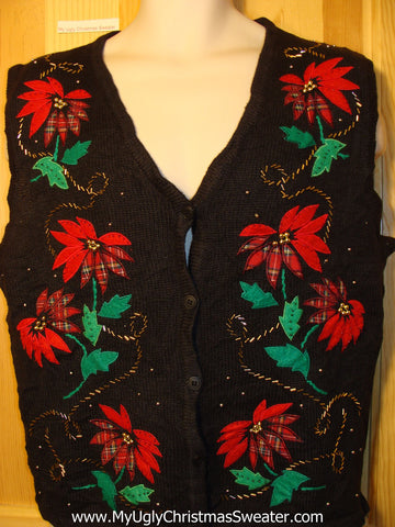 Tacky Ugly Christmas Sweater Vest with Bling Red Poinsettias (f268)