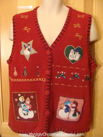 Snowman Lovefest Funny Christmas Sweater Vest